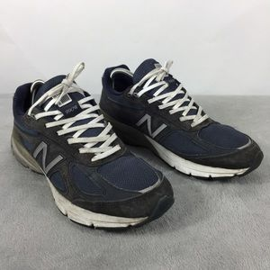 New Balance Men's 990V4 Navy Blue Suede Sneakers